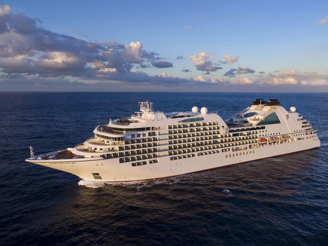 Seabourn Encore at sea. Photo by Michel Verdure.